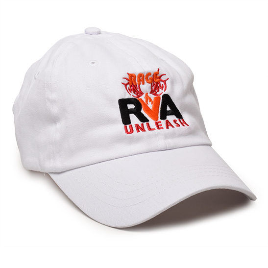 image of an embroidered ball cap with the rage rva logo stitched in full color on the cap crown